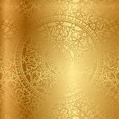 Vektorové zlaté pozadí s květinové dekorace — Stock vektor