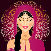 Vector illustration of Indian woman praying — Stock Vector