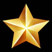 Vector gold star on black background — Stock Vector
