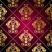 Vector maroon wallpaper with gold ornament — Stock Vector