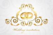 Vector wedding invitation with gold rings — Stock Vector