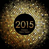 Vector - Happy New Year 2015 - gold disco lights frame — Vector de stock