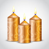 Vector illustration of gold ornate candles — Stock vektor