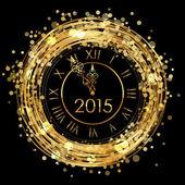 2015 - Vector shiny New Year Clock — Stock Vector