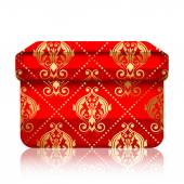 Vector illustration of red box with gold ornamets — Stock Vector