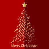 Vector Merry Christmas card with fir tree — Stock Vector