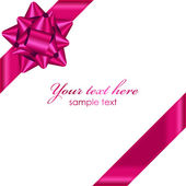 Vector pink ribbon with bow — ストックベクタ