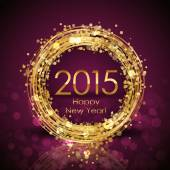 Vector 2015 Happy New Year background with gold clock — Wektor stockowy