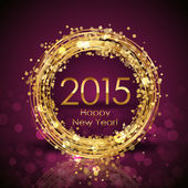 Vector 2015 Happy New Year background with gold clock — Stockvector