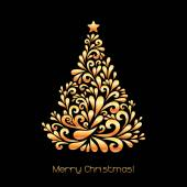 Abstract Christmas tree in gold color. — Stock Vector
