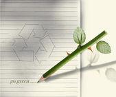 Zelená tužka — Stock fotografie