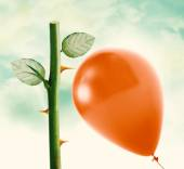 Rose thorn and Red Balloon — Stockfoto