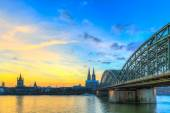 Cityscape of Cologne from the Rhine river — Stock Photo
