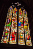 Stained glass window from within the Dom church in Cologne — Stock Photo