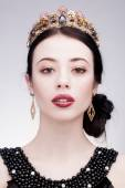 Fashion shot of a woman with diadem — Stock Photo