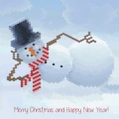 Greeting card with snowmen and snowfall — Vetor de Stock