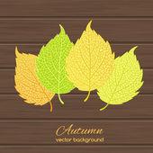 Illustrazione con foglie di autunno — Vettoriale Stock