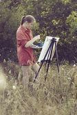 Artist on the plain air — Stock Photo