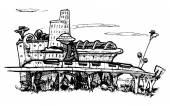 Cityscape. sci-fi. — Vector de stock