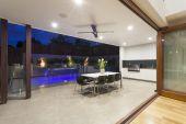 Modern backyard with pool — Stock Photo