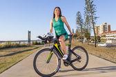 Triathlete feminino — Fotografia Stock