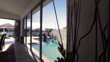 Pool in luxury home — Stock Video