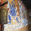 Rich decorated entrance hall of the Gangtey Goemba Monastery in Phobjikha Valley - Central Bhutan - Asia — Stock Photo #75268515