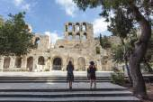 The facade of the ancient Greek theater Odeon of Herodes Atticus in Athens, Greece, Europe — Stock Photo