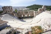 Interior of the ancient Greek theater Odeon of Herodes Atticus in Athens, Greece, Europe — Stock Photo