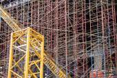Scaffold Structure At Construction Site — Stock Photo