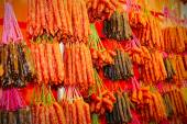 Waxed meat at chinatown festive market — Stock Photo