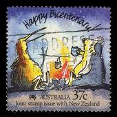 Australia stamp shows Happy Bicentenary! Caricature of an Australian koala and New Zealand kiwi. — Foto de Stock