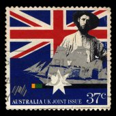 Australia stamp shows Early settler and sailing clipper, Australia UK Joint Issue — Foto Stock