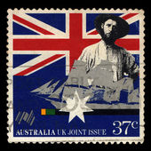Australia stamp shows Early settler and sailing clipper, Australia UK Joint Issue — Stock Photo