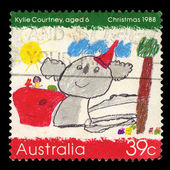 Australia stamp shows Koala wearing a Santa hat — Stock Photo