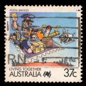 Australia stamp shows Cartoons, Postal services — Stock Photo