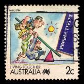 Australia stamp shows Living Together Australia — Foto de Stock