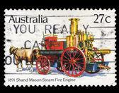 Australia stamp shows 1891 Shand Mason Steam Fire Engine — Stock Photo