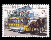 Australia stamp shows Adelaide Horse Tram 1878 — Stock Photo