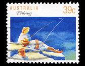 Australia stamp shows fishing — Stock Photo