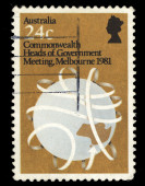 Australia stamp shows Commonwealth Heads of Government Meeting, Melbourne — Stock Photo
