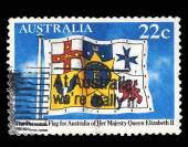 Australia stamp shows The Personal Flag for Australia of Her Majesty Queen Elizabeth II — Stock Photo