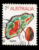 Australia stamp shows agate — Stock Photo