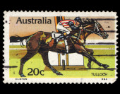 Austalia stamp shows image of a Tulloch racehorse — Stock Photo