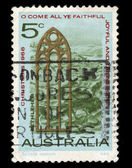 Australia stamp shows View of Bethlehem and Church Window — Stock Photo