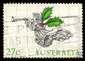 Australia stamp shows Angel with holy leaf wing — Stock Photo