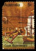 Australia stamp shows Cook Bicentenary — Photo