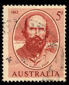 Australia stamp shows John Mcdouall Stuart, the Scot who explored Australia — Stock Photo