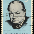 Постер, плакат: A stamp printed in Australia shows Winston Churchill