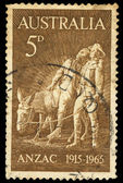 A stamp printed in Australia shows Anzac — Stock Photo